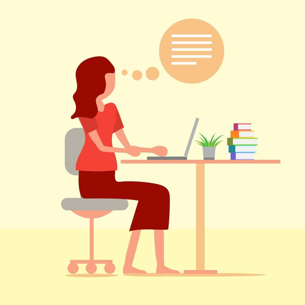 vrouw die op de computer aan balie werkt vector
