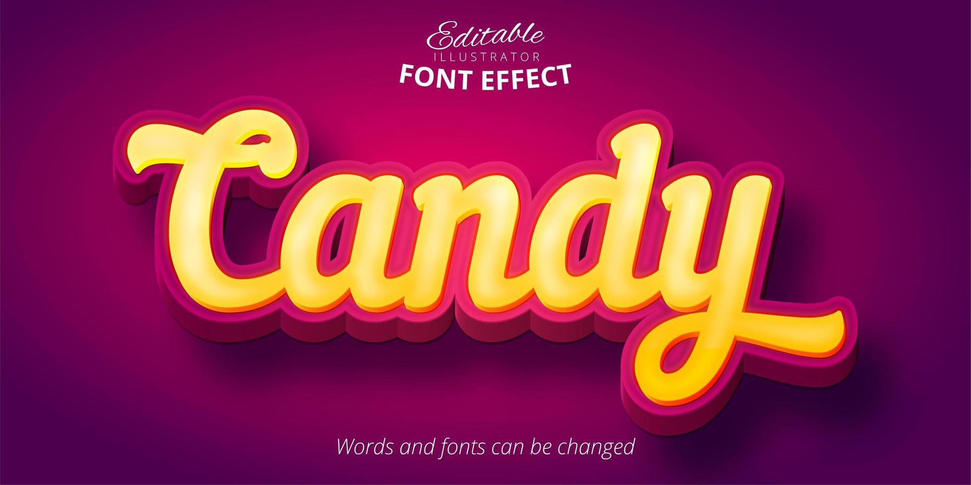 snoep geel 3D-lettertype-effect vector
