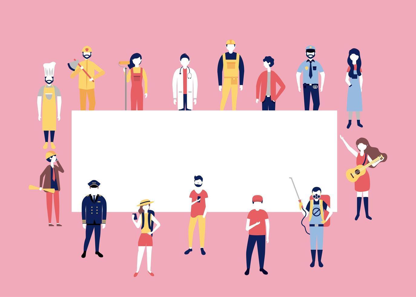 banner met mensen in werkkleding vector