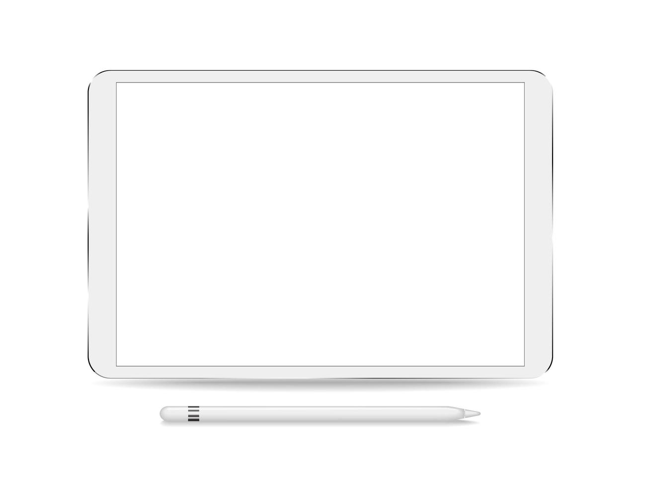 tablet met leeg scherm en stylus vector