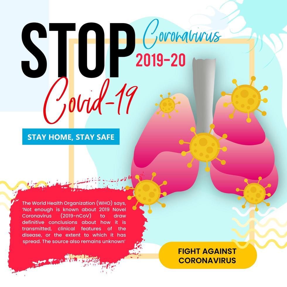 coronavirus dat de long blijft thuis poster vector