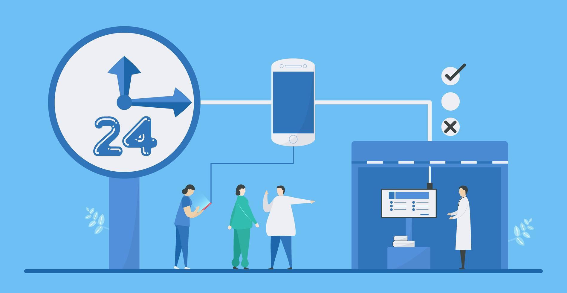 digitale gezondheid 24 uur aan mengtechnologieën vector