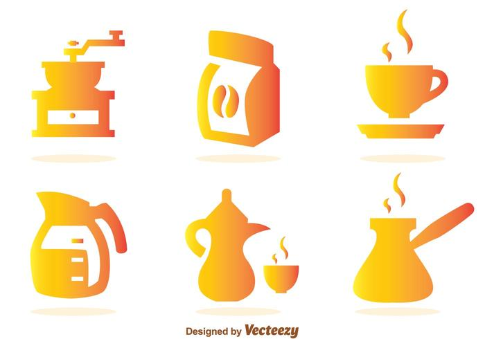 Koffie Gradient Pictogrammen vector