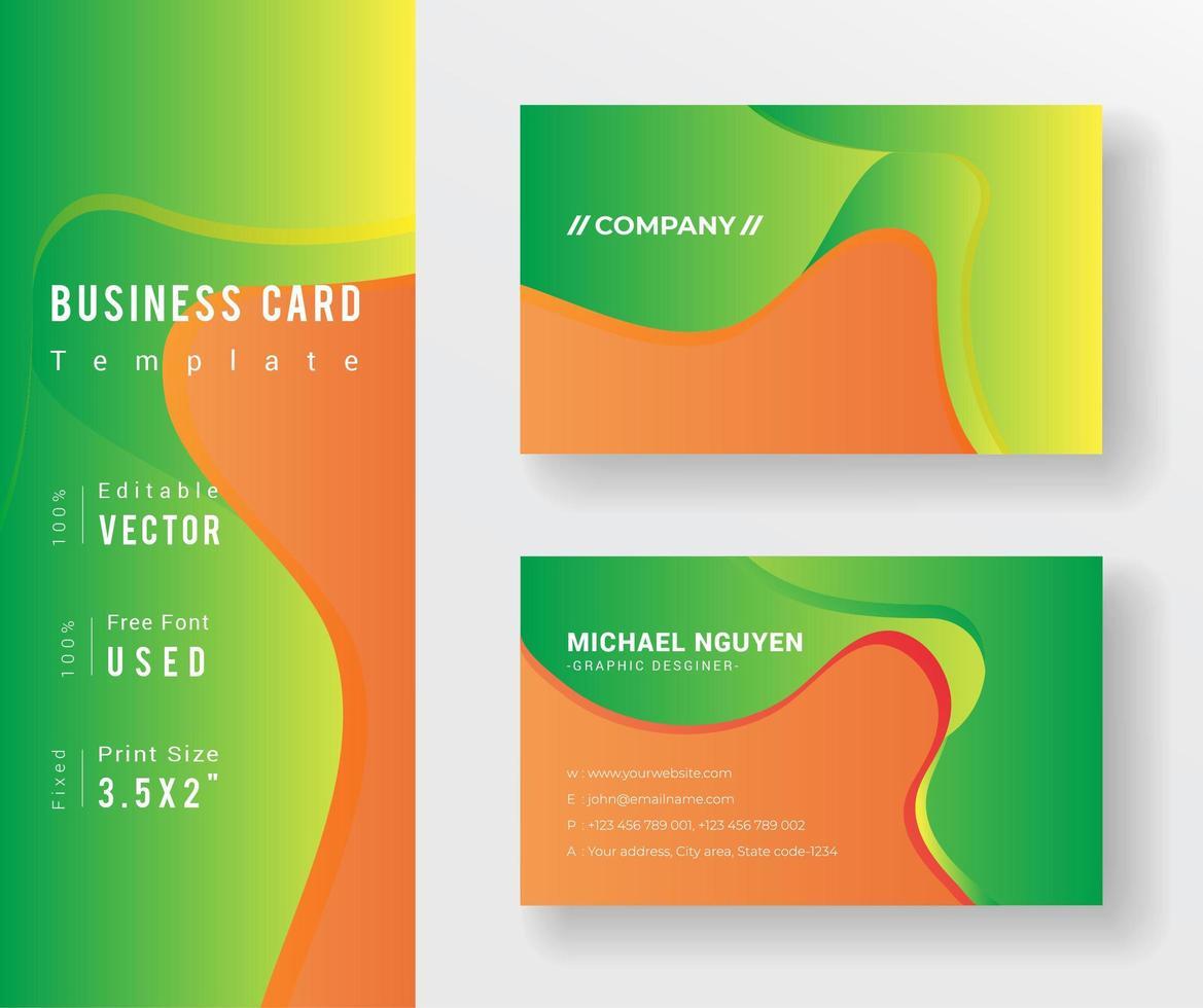 sjabloon voor visitekaartjes oranje en groen vloeiende vormen vector