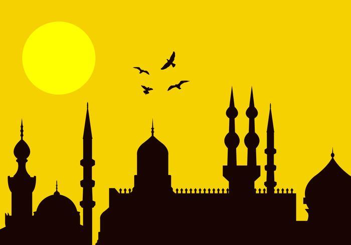 Eid al-fitr stadssilhouet vector