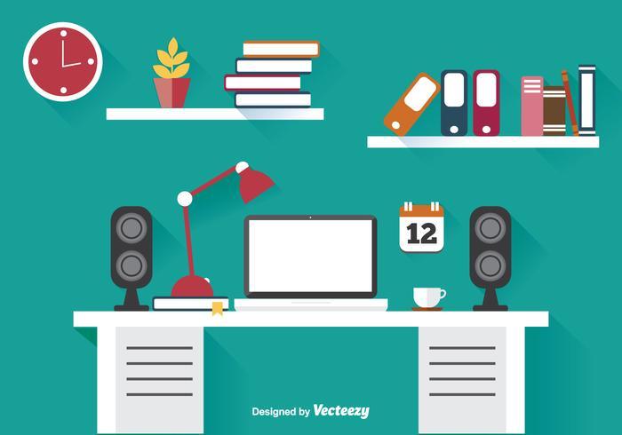 Flat Office Illustratie vector