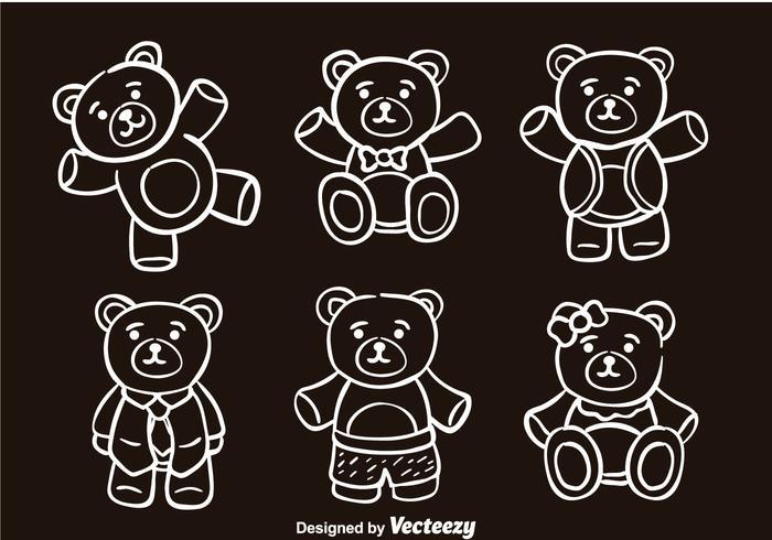Teddybeer Schets Vector Pictogrammen