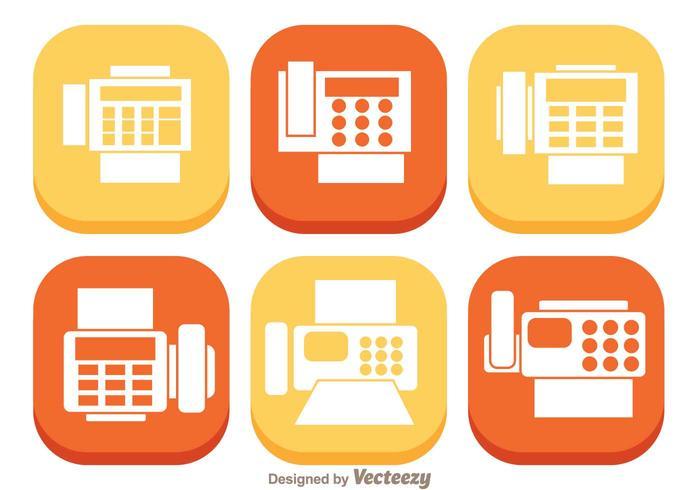 Fax platte pictogrammen vector