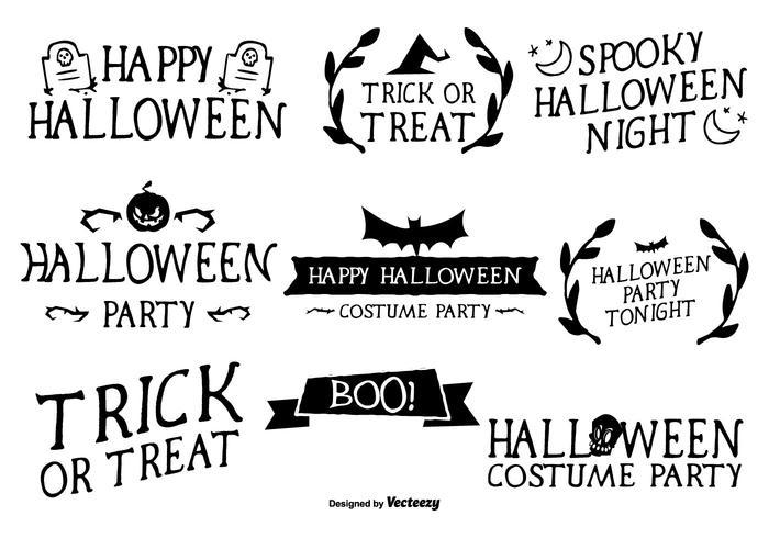 Hand Schriftelijke Stijl Halloween Labels vector