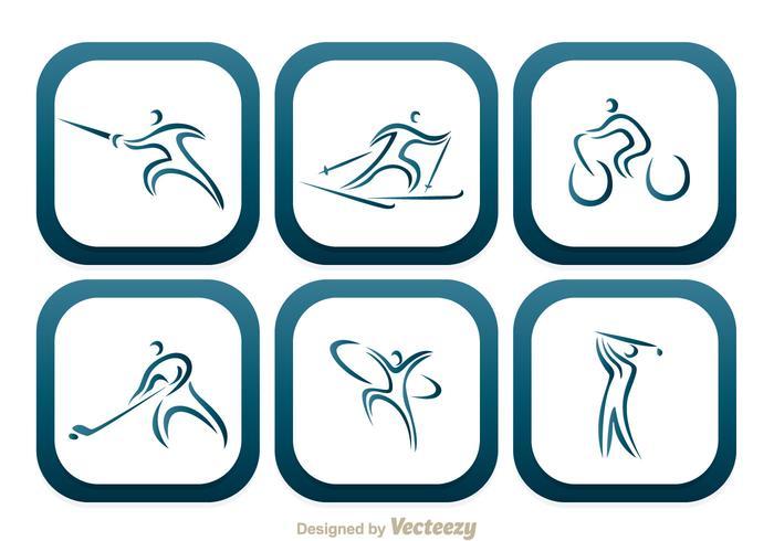 Sport Ronde Vierkante Pictogrammen vector