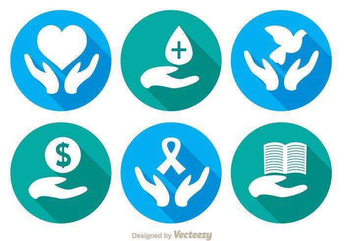 Donate long shadow icons vector