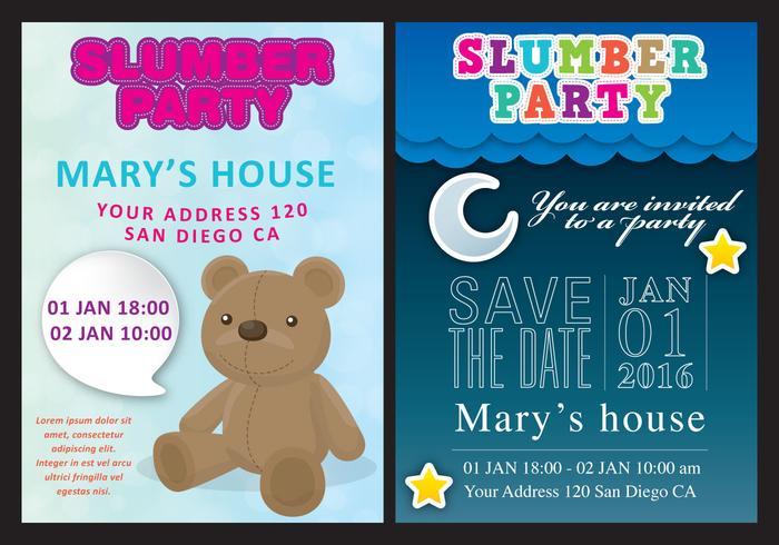 Slumber Party Card Vectoren