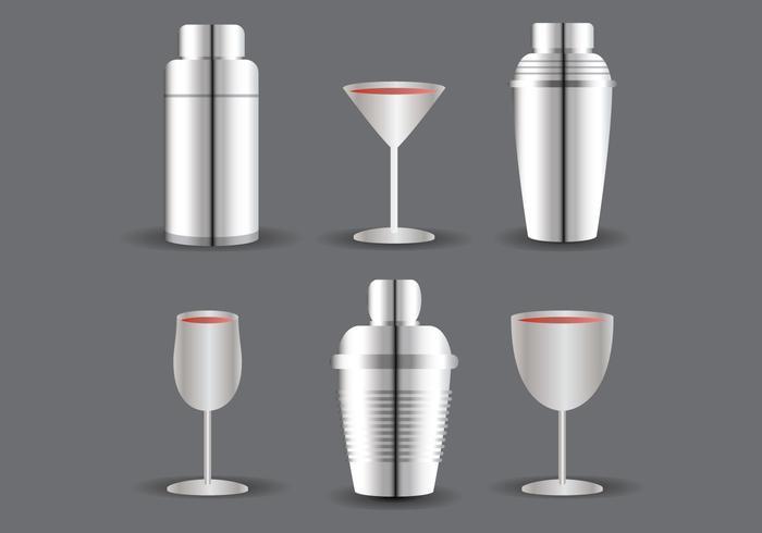 Cocktail Shaker en Glass Vector