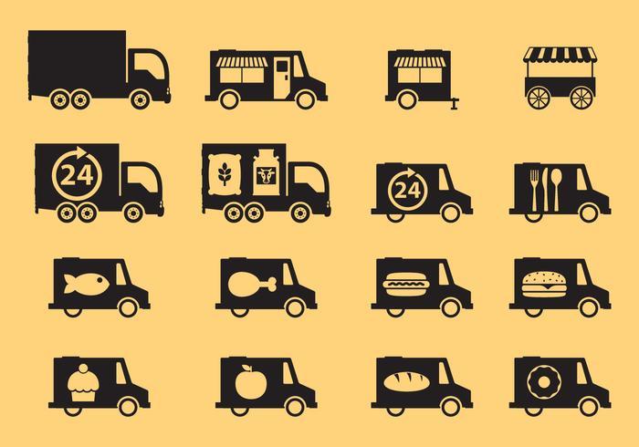 Voertuigen Trucks Pictogrammen vector