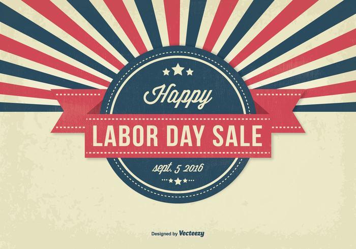 Retro stijl Labor Day Sale Illustratie vector
