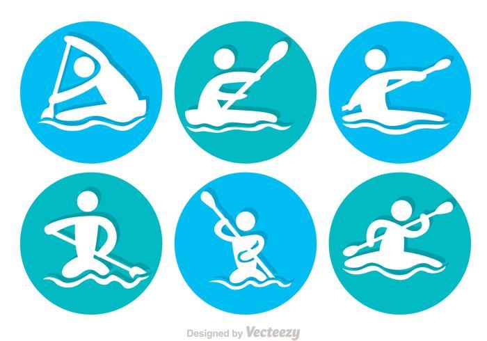Rafting cirkel iconen vector