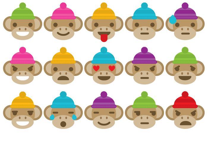 Sock Monkey Emoticons vector