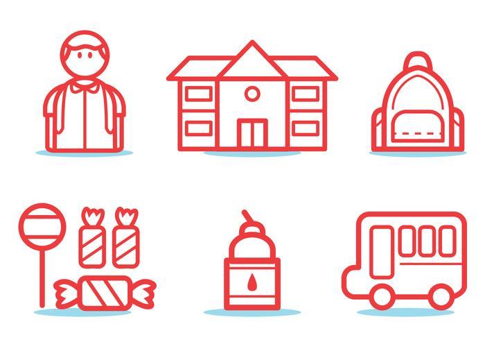 Schoolbus pictogram set vector