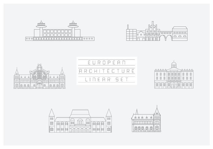 Gratis Vector Verzameling Lineaire Pictogrammen en Illustraties Met Gebouwen