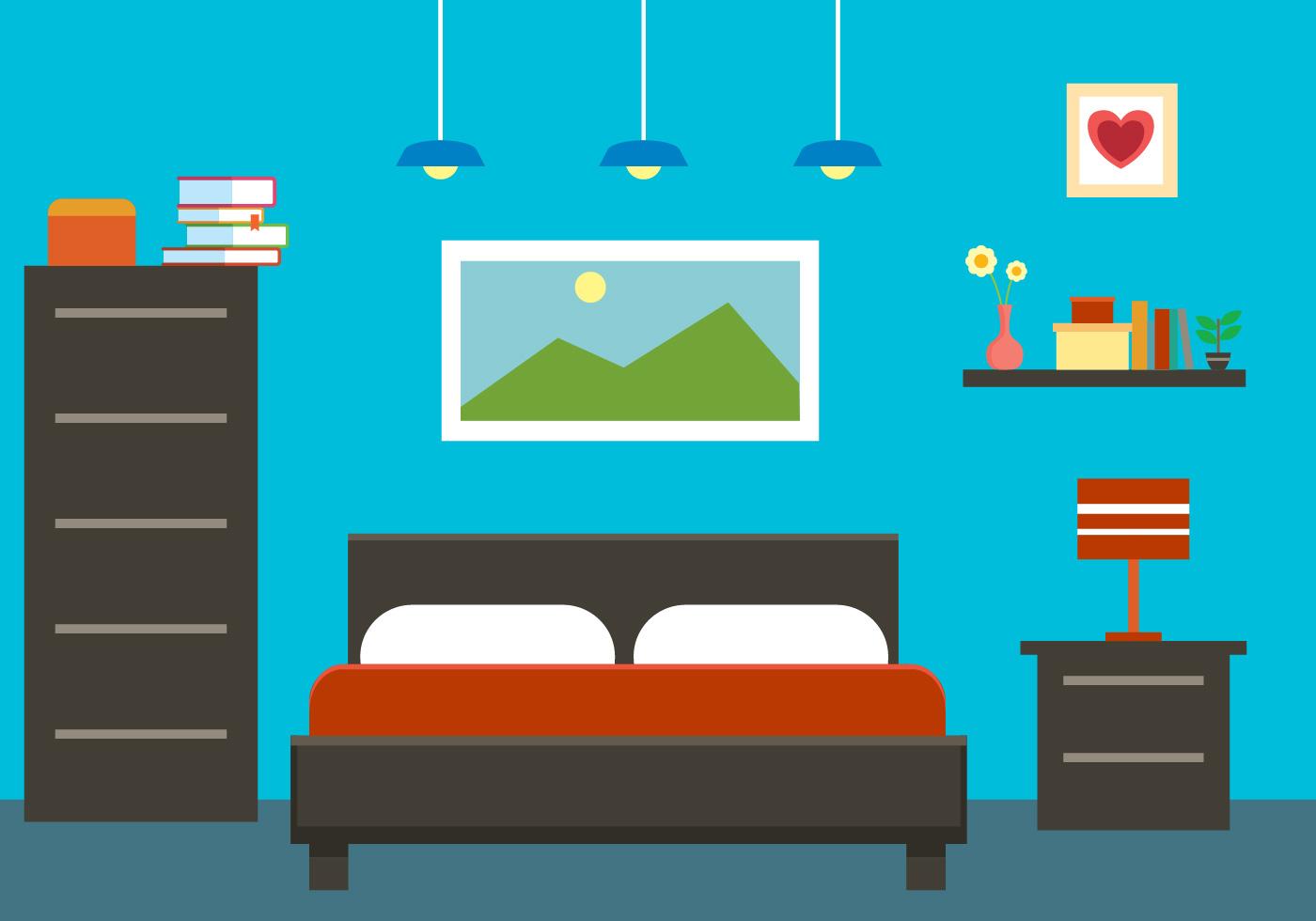 Gratis Flat Bedroom Interior Vector Illustratie 11 - Download