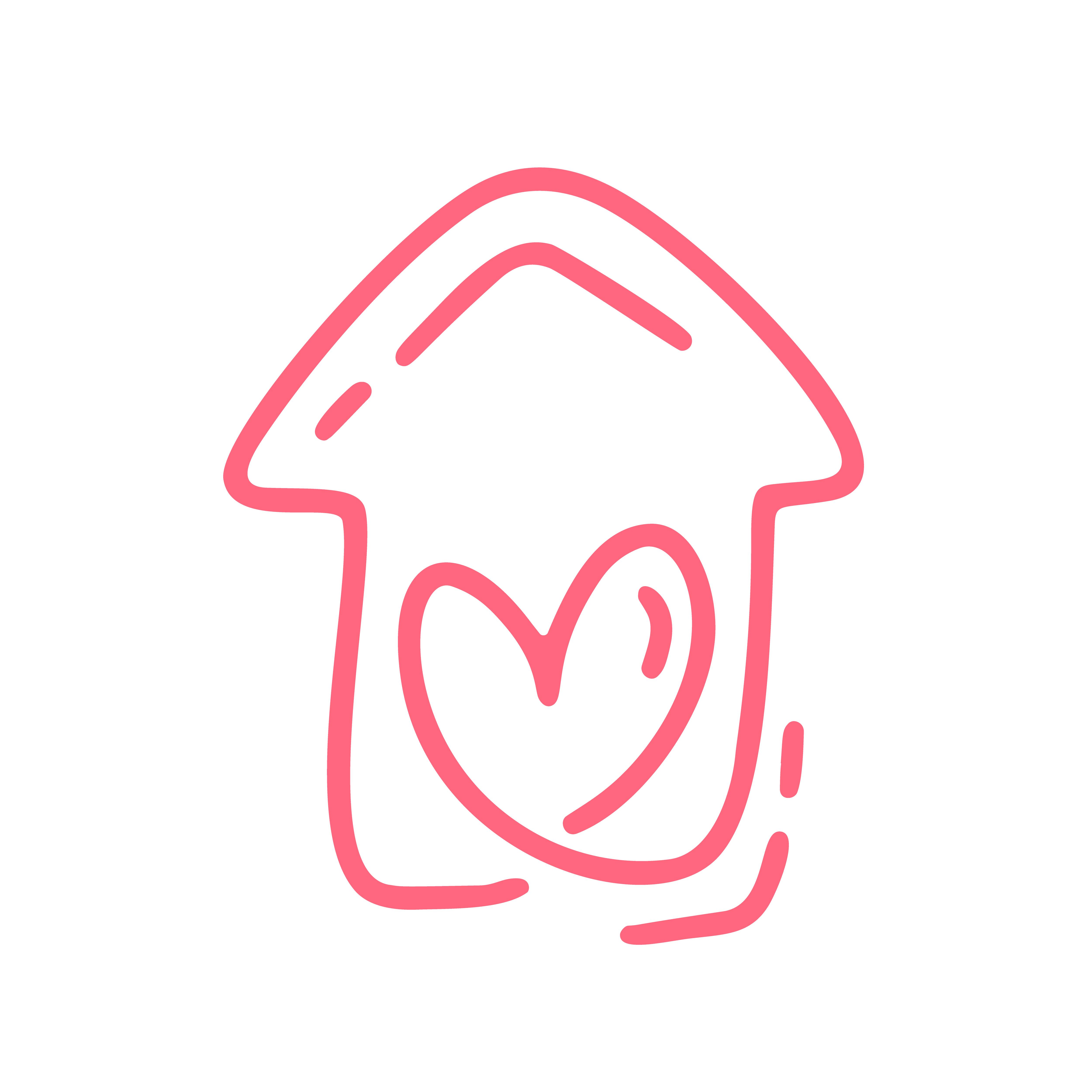 Red Monoline Schattig Huis Met Hart. Vector Valentijnsdag