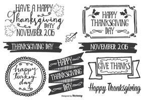 Handgetekende stijl Thanksgiving Label Set vector