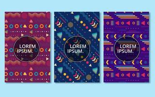 blauwe en paarse memphis stijl kaartenset vector
