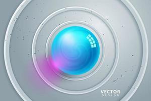 glanzende blauwe bal in het midden van grijze concentrische cirkels vector