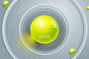gele bol in het centrum van grijze concentrische cirkels vector
