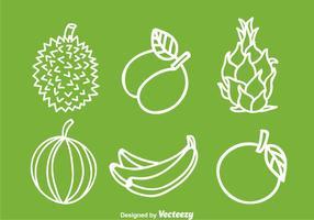 Vruchten Witte Pictogrammen vector