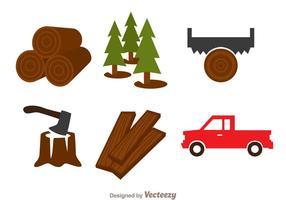 Lumberjack kleuren iconen vector