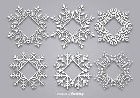 Decoratief sneeuwvlokvormig frame voor tekst vector