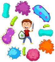jongen met zwaard vechten ziektekiemen