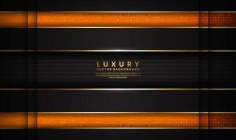 abstracte donkere ruimte luxe zwarte en oranje achtergrond met gouden lijnen
