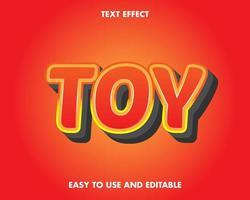 speelgoed teksteffect in rood met gele omtrek
