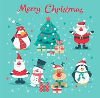 Kerstkaart met santa, boom, pinguïn, herten en sneeuwpop