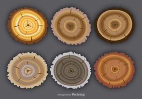 Platte kleurrijke boomringen vector