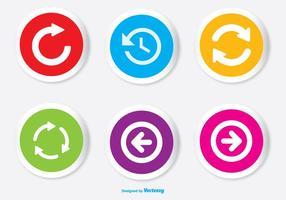 Diverse kleurrijke pijlknop icon set vector