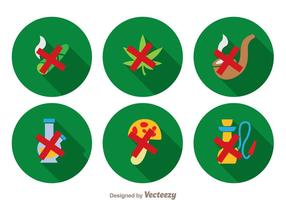 Geen drugs lange schaduw iconen vector