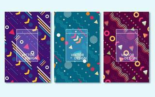set van drie abstracte cover achtergronden vector