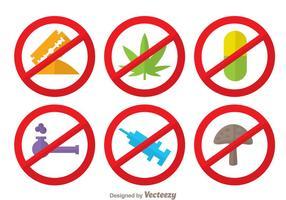 Geen drugs vlakke kleuren iconen vector