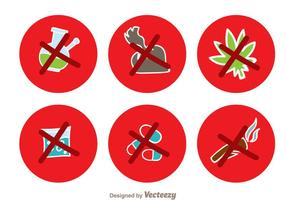 Geen drugs rode cirkel iconen vector