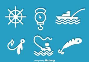 Vissen Witte Pictogrammen vector