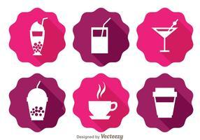 Drankjes Langschaduw Pictogrammen vector