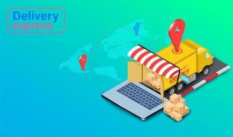 bestelwagen lossen online bestelling vector