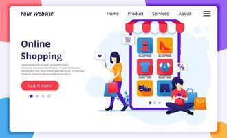 twee vrouwen online winkelen bestemmingspagina vector