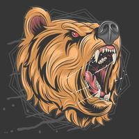 eng grizzly beer hoofd vector