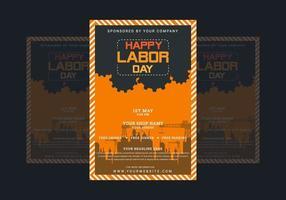 dag van de arbeid poster met fabriek silhouet vector