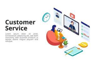 vrouw communiceren met klantenservice vector