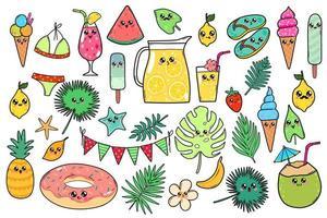 verzameling kawaii zomerelementen
